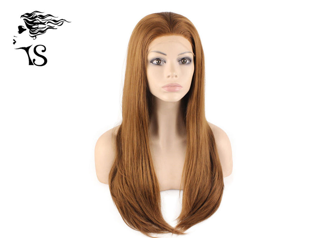Premium Quality Synthetic Lace Front Wigs Silky Straight Brown Color No Shedding