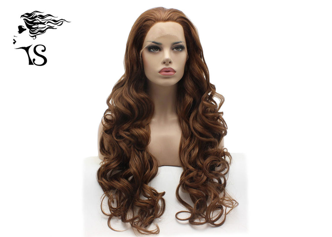 Dark Brown Synthetic Long Curly Lace Front Wigs , Colored Synthetic Wigs No Shedding