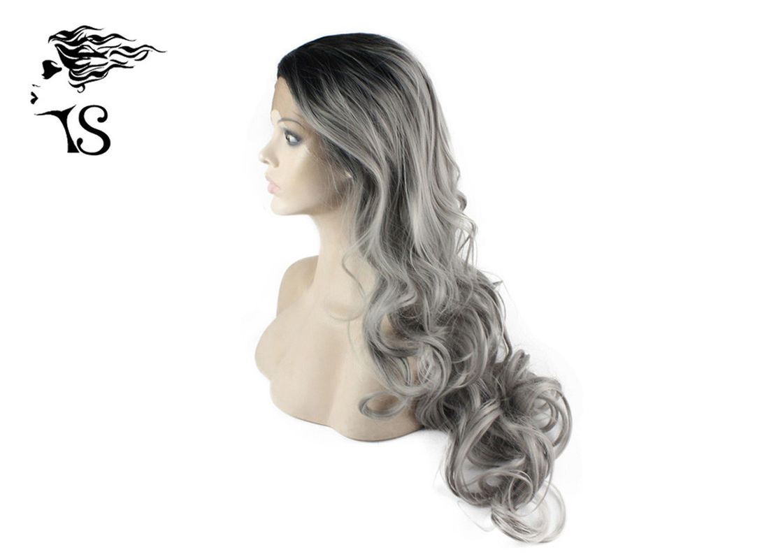 Gray Synthetic Long Curly Lace Front Wigs With Dark Roots For Rupauls Drag Race Girls