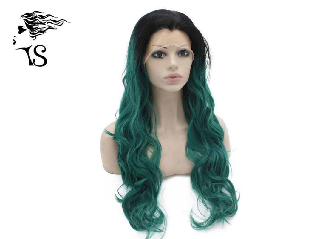 Wavy Curly Green Synthetic Lace Front Wigs With Dark Roots For Cross Dressing