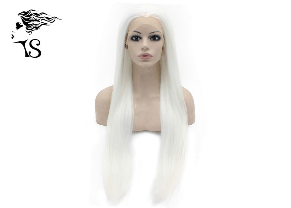 Silky Straight Synthetic Lace Front Wigs , Long White Blonde Synthetic Wigs