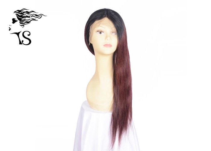 Red African American Full Lace Human Hair Wigs With Dark Roots Straight Glueless