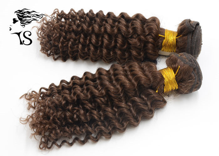 Kinky Curly 100% Mongolian Remy Hair Extensions , Weft Dark Brown Hair Extensions