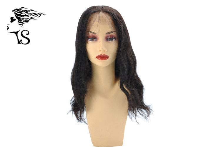 Customized Light Wavy 360 Lace Frontal Wig Natural Black 100% Mongolian Remy Hair
