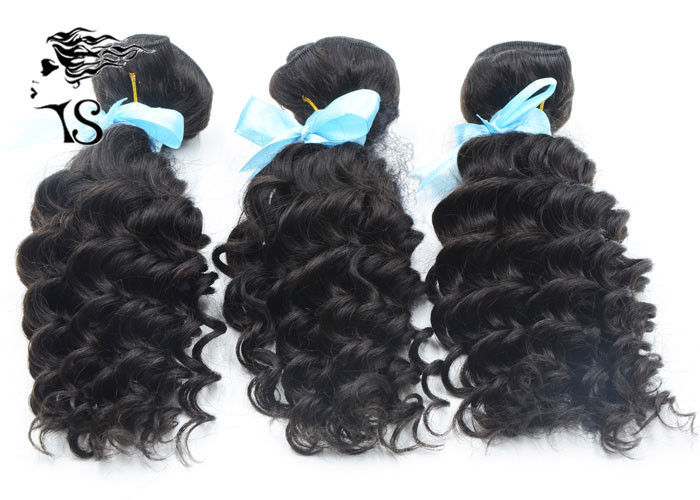 100% Malaysian Remy Unprocessed Human Hair Weave Bundles Deep Wave Natural Black