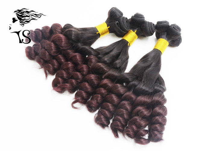 Burgundy Ombre Hair Extensions Weft , Aunty Funmi Ombre Brazilian Hair Bundles