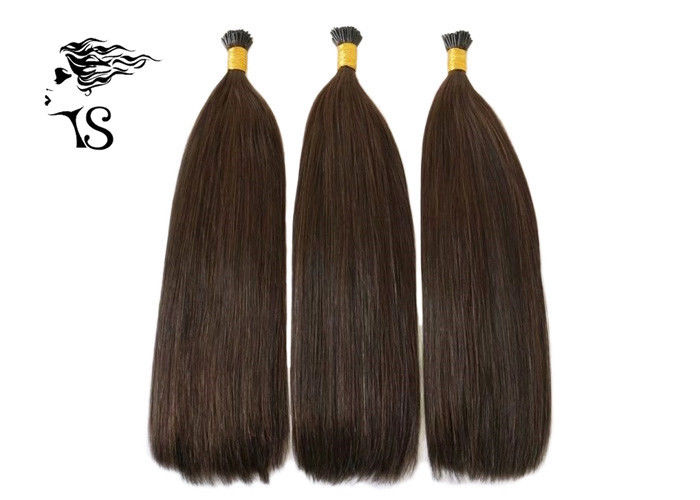 Mongolian Remy Brown Colored Human Hair Extensions I Tip 20 inch No Lice