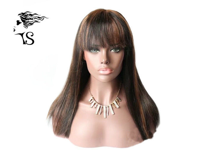 Dark Brown Human Hair Lace Front Wigs With Bangs 100% Indian Remy Silky Straight